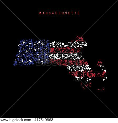 Massachusetts Us State Flag Map, Chaotic Particles Pattern In The Colors Of The American Flag. Vecto