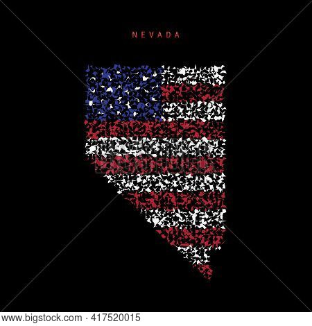 Nevada Us State Flag Map, Chaotic Particles Pattern In The Colors Of The American Flag. Vector Illus