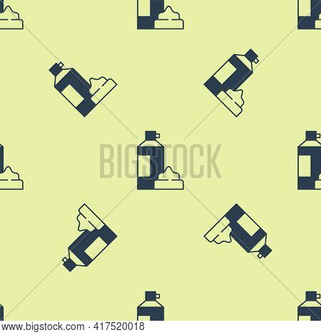Blue Whipped Cream In An Aerosol Can Icon Isolated Seamless Pattern On Yellow Background. Sweet Dair