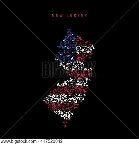 New Jersey Us State Flag Map, Chaotic Particles Pattern In The Colors Of The American Flag. Vector I