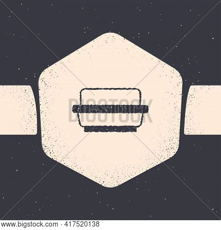 Grunge Butter In A Butter Dish Icon Isolated On Grey Background. Butter Brick On Plate. Milk Based P