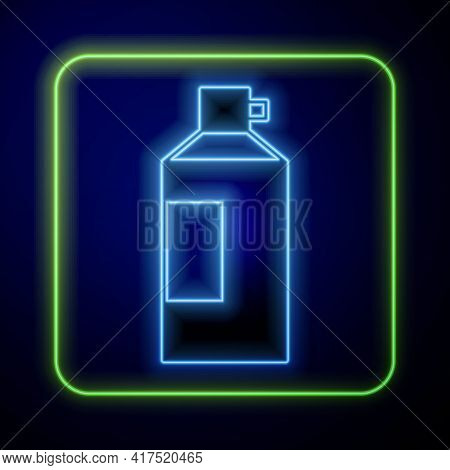Glowing Neon Whipped Cream In An Aerosol Can Icon Isolated On Blue Background. Sweet Dairy Product.