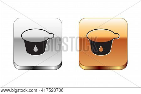 Black Yogurt Container Icon Isolated On White Background. Yogurt In Plastic Cup. Silver And Gold Squ