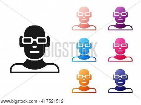 Black Poor Eyesight And Corrected Vision With Optical Glasses Icon Isolated On White Background. Set