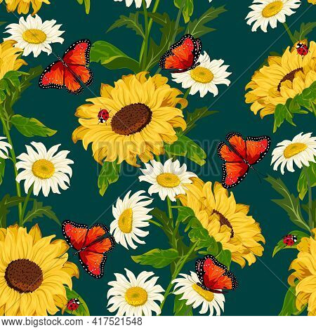 Chamomile And Sunflowers In The Pattern.sunflowers, Daisies And Butterflies On A Colored Background