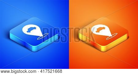Isometric Location With Car Service Icon Isolated On Blue And Orange Background. Auto Mechanic Servi