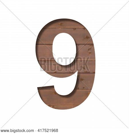 Font On The Boards. The Digit Nine, 9, Is Cut Out Of Paper Against The Background Of A Wooden Plank