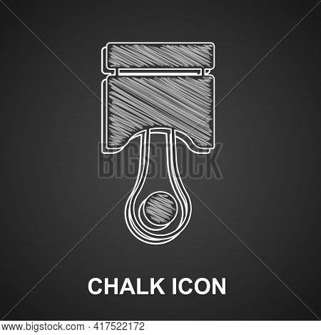 Chalk Engine Piston Icon Isolated On Black Background. Car Engine Piston Sign. Vector