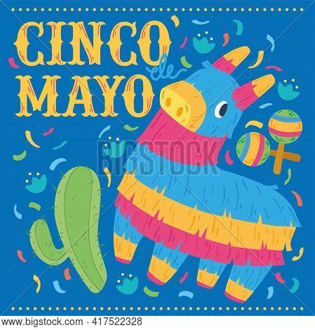Donkey Mexican Pinata. Cinco De Mayo Poster - Vector