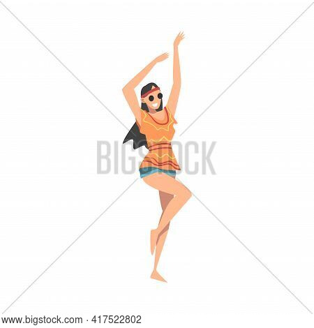 Pretty Hippie Woman Character, Brunette Girl With Long Hair Wearing Retro Style Clothing Happily Dan