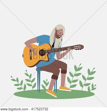 The Man Sings And Plays The Guitar. The Guitarist Sings The Song And Plays The Guitar. Flat Vector I