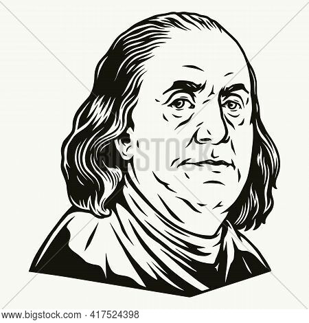 Benjamin Franklin Portrait From One Hundred Dollar Bill In Vintage Monochrome Style Isolated Vector