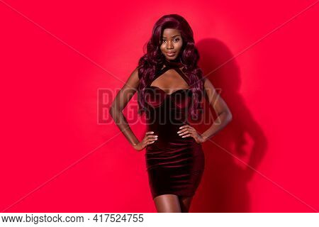 Photo Of Stunning Pretty Dark Skin Woman Hold Hands Waist Prom Outfit Isolated On Red Color Backgrou