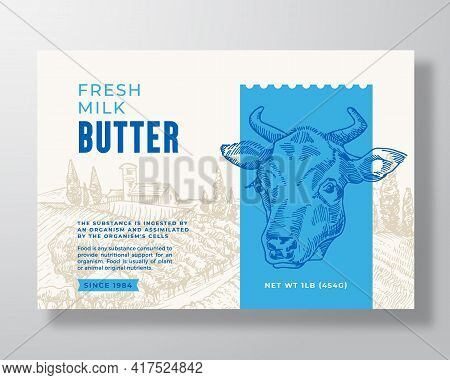 Milk Butter Dairy Food Label Template. Abstract Vector Packaging Design Layout. Modern Typography Ba