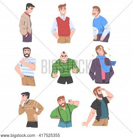 Young Men With Different Emotions Set, Cheerful, Angry, Stressed, Men, Human Emotions And Feelings C