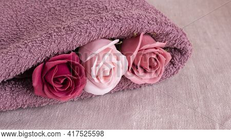 Floral Fragrant Soap Roses And Lilac Shower Towel. Aroma And Purity Of The Body.