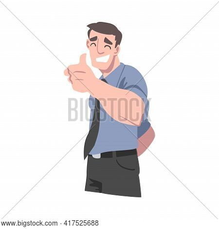 Smiling Young Man Showing Thumbs Up, Cheerful Guy Doing Ok Gesture, Human Emotions And Feelings Conc