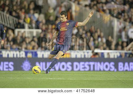 VALENCIA - FEBRUARY 3: Sergio Busquets during Spanish League match between Valencia CF and FC Barcelona, on February 3, 2013, in Mestalla Stadium, Valencia, Spain
