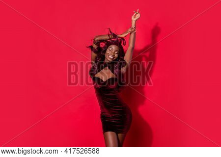 Portrait Of Attractive Cheerful Dreamy Girl Wearing Velvet Dress Dancing Having Fun Event Isolated O