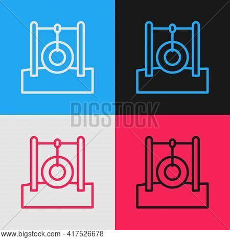 Pop Art Line Car Tire Hanging On Rope Icon Isolated On Color Background. Playground Equipment With H
