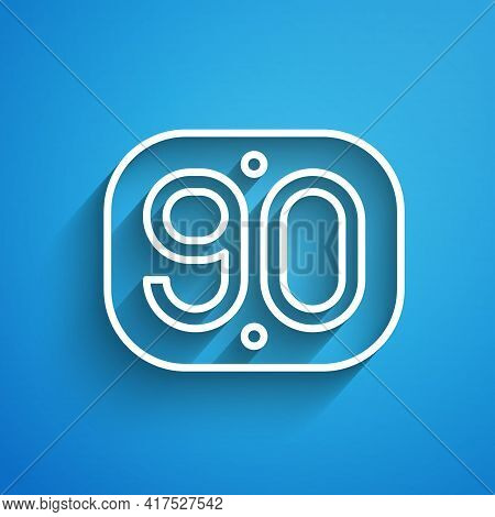 White Line 90s Retro Icon Isolated On Blue Background. Nineties Poster. Long Shadow. Vector
