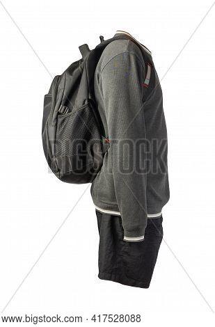 Black Backpack,gray White Sweatshirt,black Shorts Isolated On White Background. Sportswear