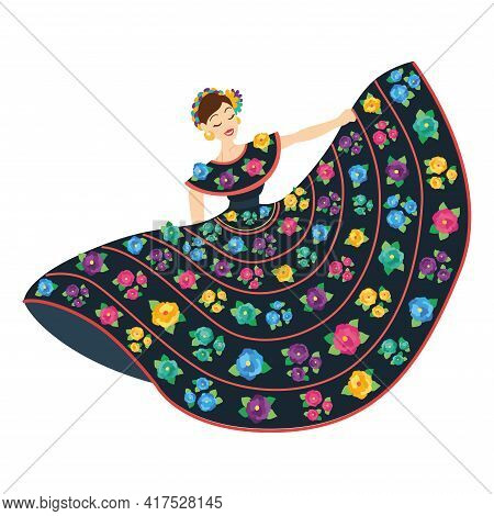 Isolated Mexican Woman On A Folkloric Dress With Flowers - Vector