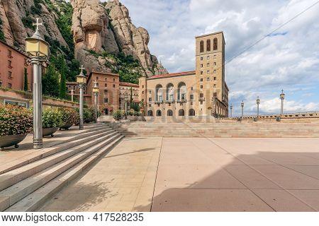 Square In Front Of The Famous Benedictine Abbey Of Montserrat (santa Maria De Montserrat) In Catalon