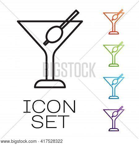 Black Line Martini Glass Icon Isolated On White Background. Cocktail Icon. Wine Glass Icon. Set Icon