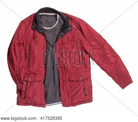 Red Jacket And  Gray Sweater Isolated On White Background.bologna Jacket And Wool Sweater Top View