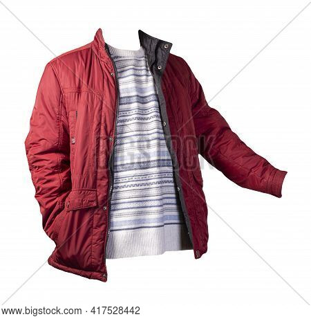 Red Jacket And White Blue Gray Sweater Isolated On White Background.bologna Jacket And Wool Sweater