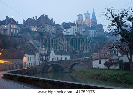 Foggy Night in Semur-en-Auxois. Burgundy,  France