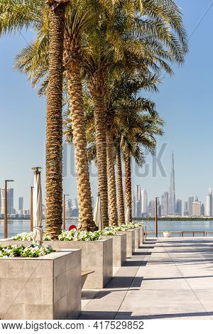 Dubai, Uae, 22.02.2021. Dubai Creek Harbour Promenade With Row Of Date Palm Trees And Dubai Downtown