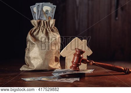 Real Estate Auction Concept, Money Bag With Cash House And Judge Gavel