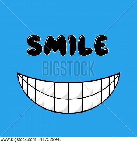 Smiley Face. Blue Smile Poster. World Smile Day. Vector Illustration. Smiley Vector. Smiley Icon. Sm