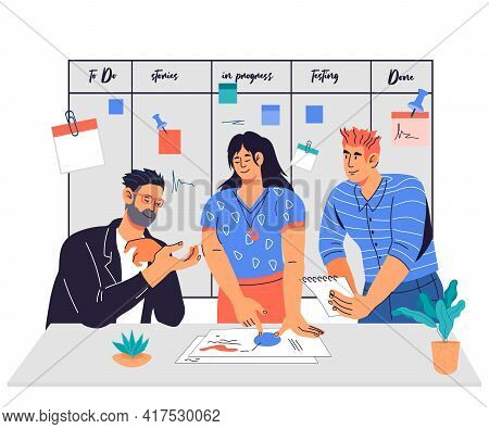 Team Working Together Against Scrum Task Board, Flat Vector Illustration Isolated On Background.
