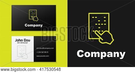 Logotype Line Braille Icon Isolated On Black Background. Finger Drives On Points. Writing Signs Syst