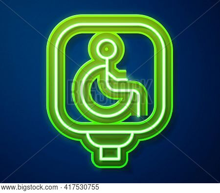 Glowing Neon Line Disabled Wheelchair Icon Isolated On Blue Background. Disabled Handicap Sign. Vect