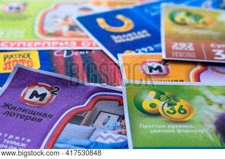 Krasnodar, Russia, April 10, 2021: Various Russia Lottery Tickets . Russian Lotto. Gambling.