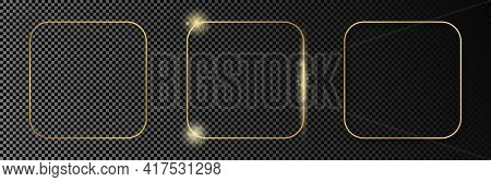 Set Of Three Gold Glowing Rounded Square Frames Isolated On Dark Transparent Background. Shiny Frame