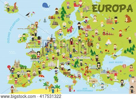 Funny Cartoon Map Of Europe In Spanish With Childrens Of Different Nationalities, Representative Mon