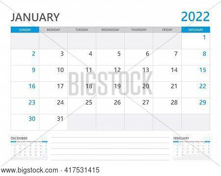January 2022 Year, Calendar Planner 2022 And Set Of 12 Months,  Week Start On Sunday. Desk Calendar