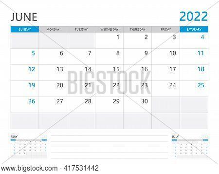 June 2022 Year, Calendar Planner 2022 And Set Of 12 Months,  Week Start On Sunday. Desk Calendar 202