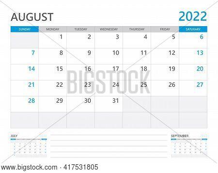 August 2022 Year, Calendar Planner 2022 And Set Of 12 Months,  Week Start On Sunday. Desk Calendar 2