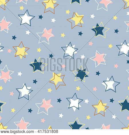 Stars Seamless Pattern On Gray Background, Vector With Stars. A Simple Holiday Repeating Texture Wit