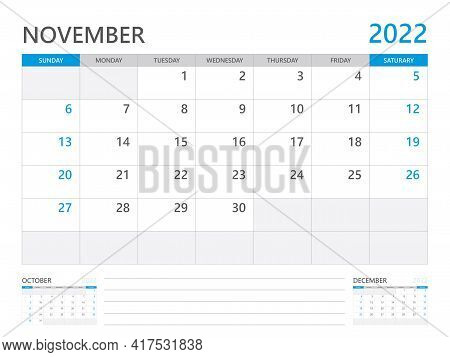 November 2022 Year, Calendar Planner 2022 And Set Of 12 Months,  Week Start On Sunday. Desk Calendar