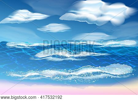 Vector Sea Wave Symbols Set For Design , Such Emblem Or Logo Template. Sea And Waves On A Transparen