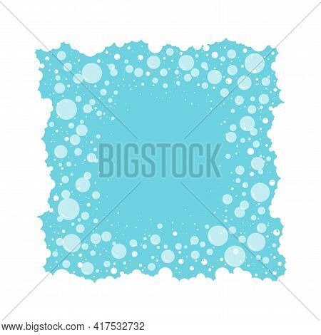 Soap Bubbles Frame And Foam Vector Background, Transparent Suds Border. Abstract Illustration