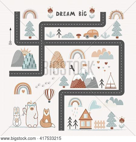 Dream Big, Little One - Cute Kids Poster, Playing Rug Or Tapestry In Scandinavian Style. Road, Mount