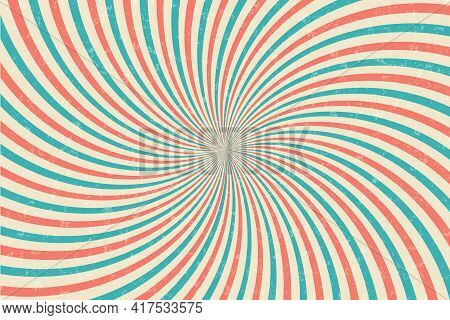 Vintage Circus Vector Background. Sunbeams Retro Grunge Poster. Comic Red And Green Radial Burst Bac